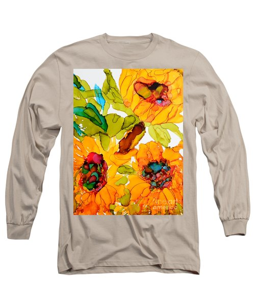 Sunflower Trio Long Sleeve T-Shirt by Vicki  Housel