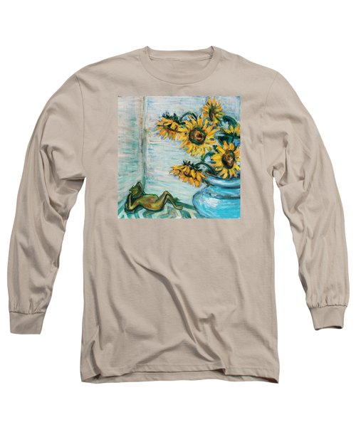 Sunflowers And Frog Long Sleeve T-Shirt by Xueling Zou