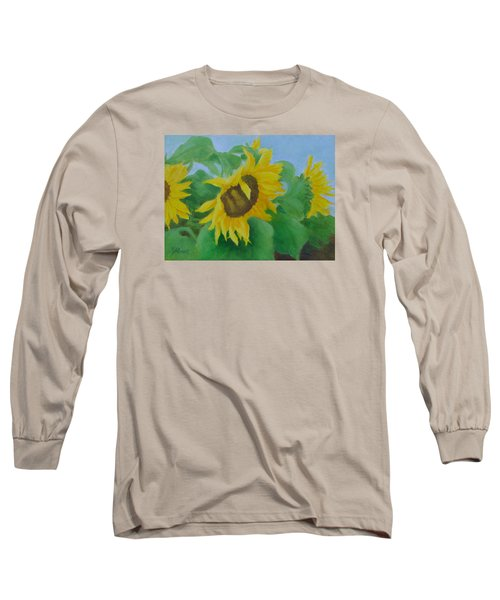 Sunflowers In The Wind Colorful Original Sunflower Art Oil Painting Artist K Joann Russell           Long Sleeve T-Shirt by Elizabeth Sawyer