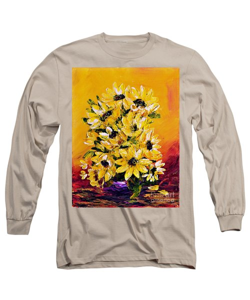 Long Sleeve T-Shirt featuring the painting Sunflowers  No.3 by Teresa Wegrzyn