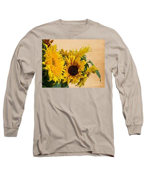 Sunflowers On Old Paper Background Art Prints Long Sleeve T-Shirt by Valerie Garner