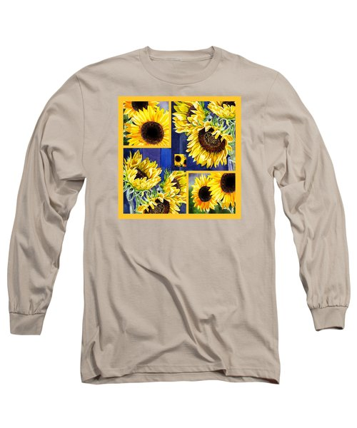 Sunflowers Sunny Collage Long Sleeve T-Shirt by Irina Sztukowski