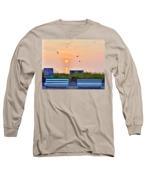Sunrise At Rehoboth Beach Boardwalk Long Sleeve T-Shirt