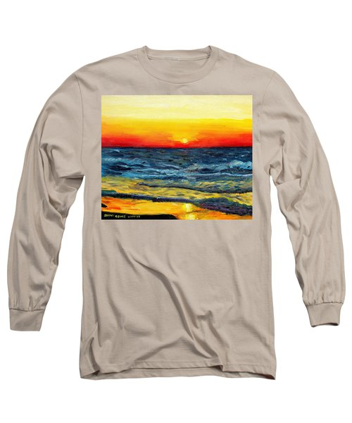Long Sleeve T-Shirt featuring the painting Sunrise Over Paradise by Shana Rowe Jackson