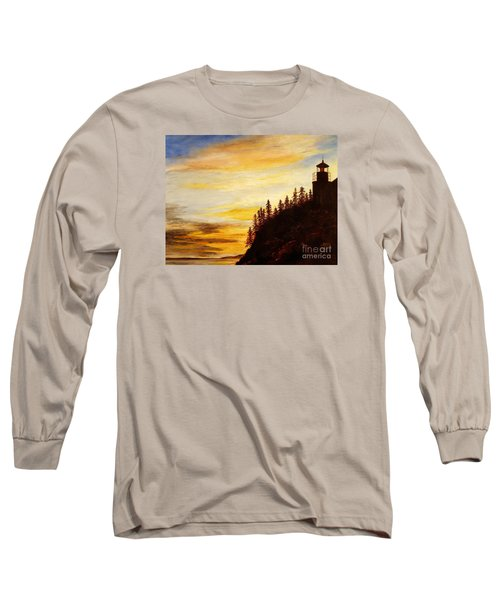 Long Sleeve T-Shirt featuring the painting Sunset At Bass Harbor by Lee Piper