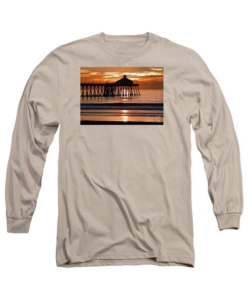 Sunset At Ib Pier Long Sleeve T-Shirt by Barbie Corbett-Newmin