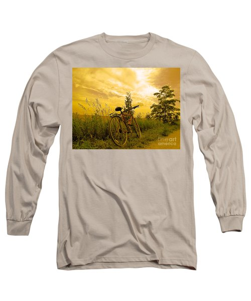 Sunset Biking Long Sleeve T-Shirt by Nina Silver
