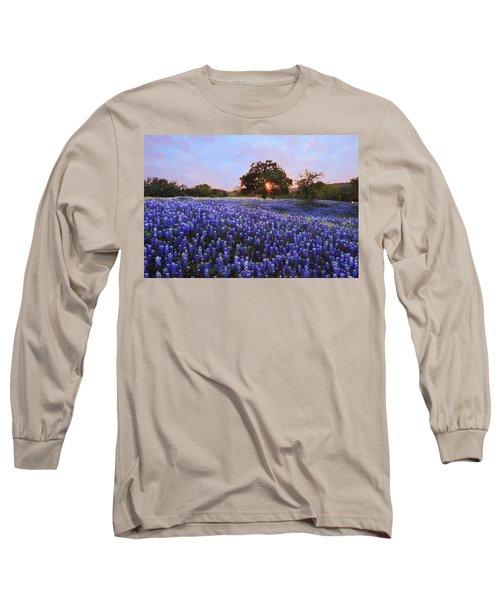 Sunset In Bluebonnet Field Long Sleeve T-Shirt by Susan Rovira