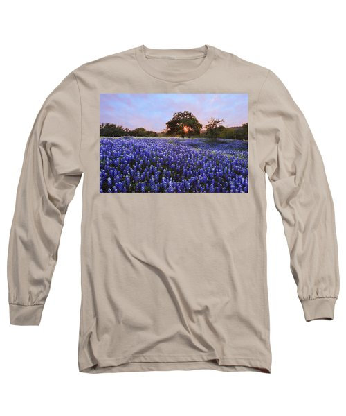 Sunset In Bluebonnet Field Long Sleeve T-Shirt