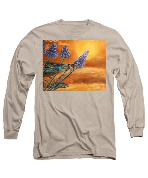 Summer Sunset Over A Dragonfly Long Sleeve T-Shirt
