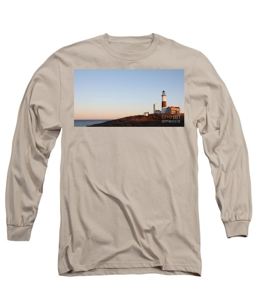 Long Sleeve T-Shirt featuring the photograph Sunset Over Montauk Lighthouse by John Telfer