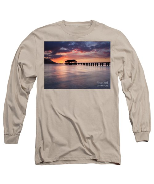 Sunset Pier Long Sleeve T-Shirt by Mike  Dawson