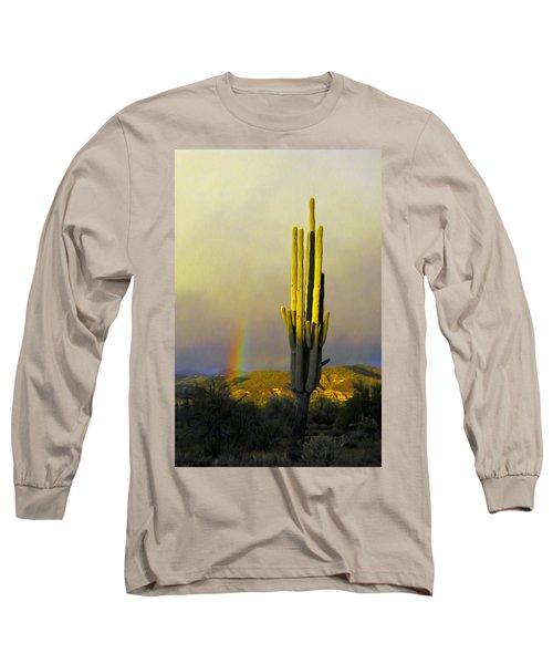 Long Sleeve T-Shirt featuring the photograph Sunset Rainbow Cactus by John Haldane