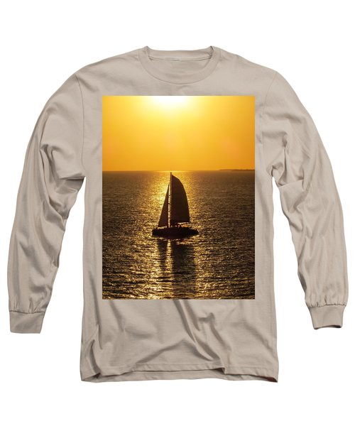 Long Sleeve T-Shirt featuring the photograph Sunset Sail by Jennifer Wheatley Wolf