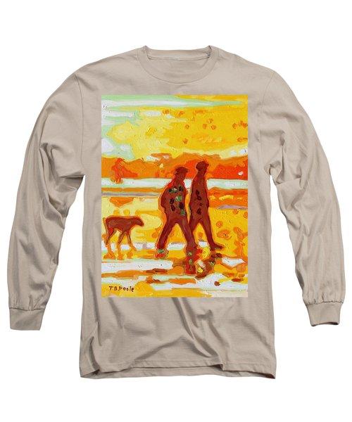 Sunset Silhouette Carmel Beach With Dog Long Sleeve T-Shirt by Thomas Bertram POOLE