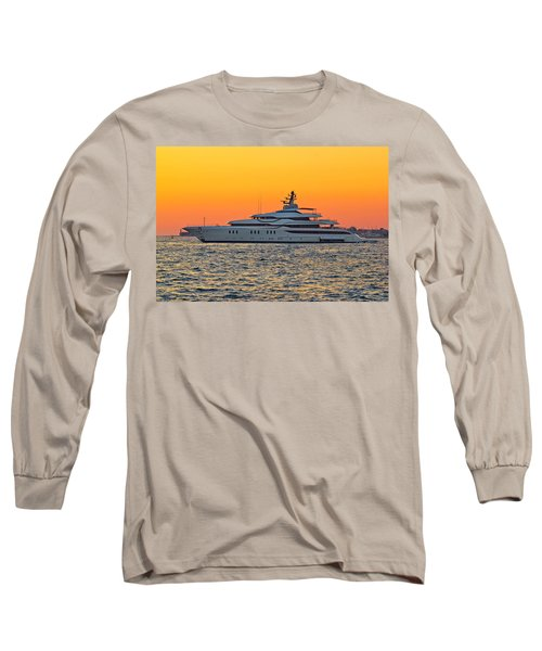 Superyacht On Yellow Sunset View Long Sleeve T-Shirt