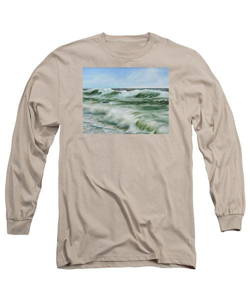Surf At Castlerock Long Sleeve T-Shirt by Barry Williamson
