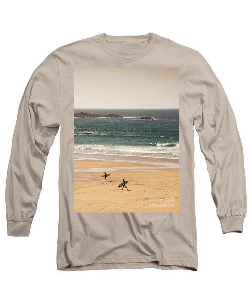 Surfers On Beach 01 Long Sleeve T-Shirt
