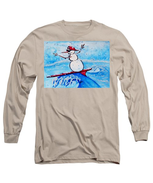 Surfing Snowman Long Sleeve T-Shirt