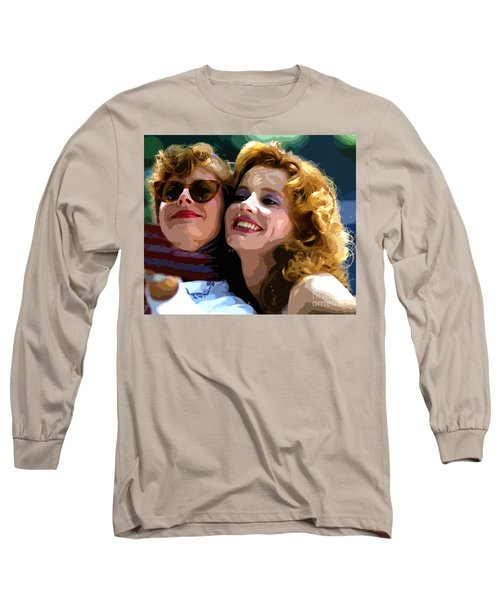 Susan Sarandon And Geena Davies Alias Thelma And Louis - Watercolor Long Sleeve T-Shirt