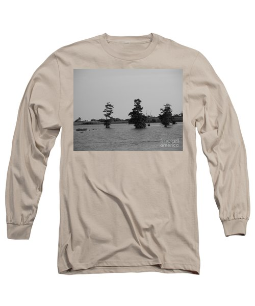 Long Sleeve T-Shirt featuring the photograph Swamp Tall Cypress Trees Black And White by Joseph Baril