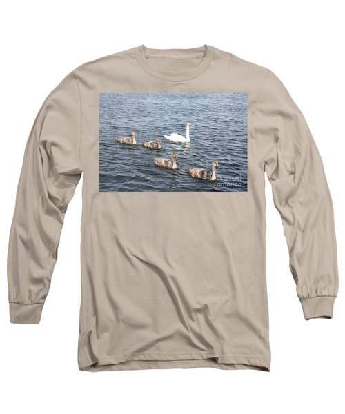 Long Sleeve T-Shirt featuring the photograph Swan And His Ducklings by John Telfer