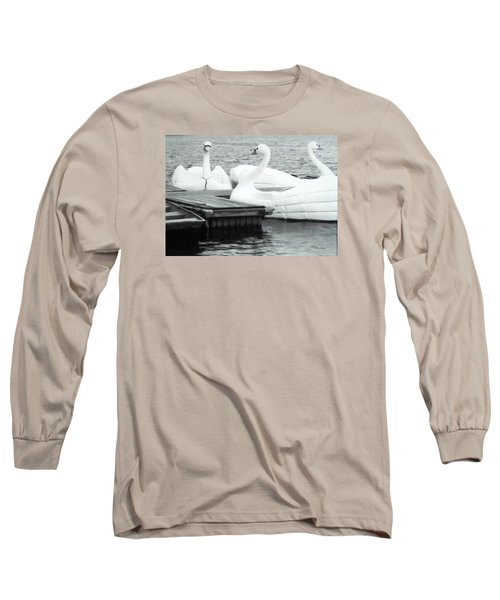 Long Sleeve T-Shirt featuring the photograph White Swan Lake by Belinda Lee