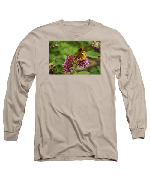 Long Sleeve T-Shirt featuring the photograph Sweet Nectar - Butterfly On Milkweed Art Print by Jane Eleanor Nicholas