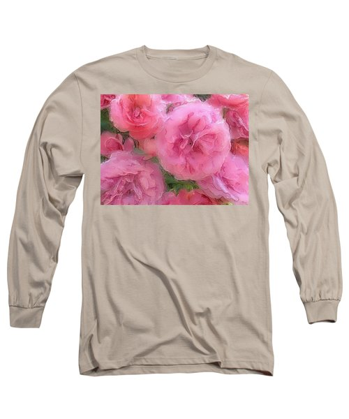 Long Sleeve T-Shirt featuring the mixed media Sweet Pink Roses  by Gabriella Weninger - David