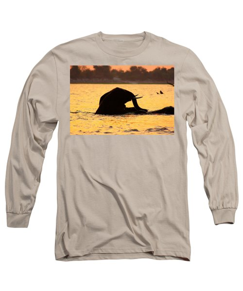 Long Sleeve T-Shirt featuring the photograph Swimming Kalahari Elephants by Amanda Stadther
