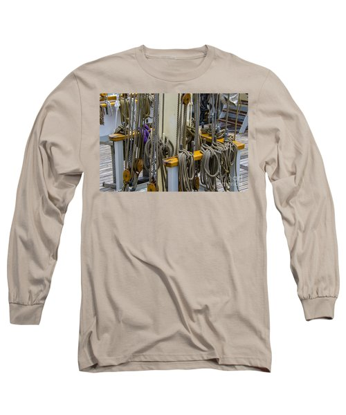 Tall Ship Lines And Blocks Long Sleeve T-Shirt by Dale Powell