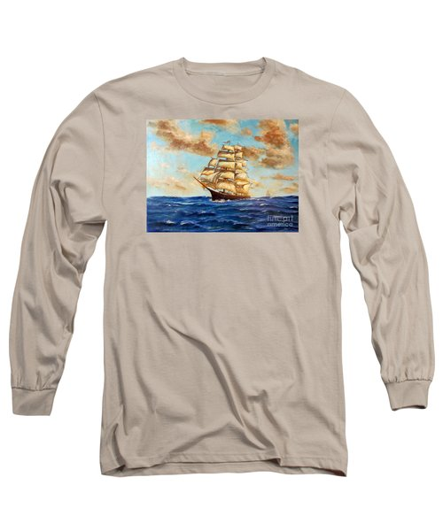 Tall Ship On The South Sea Long Sleeve T-Shirt by Lee Piper