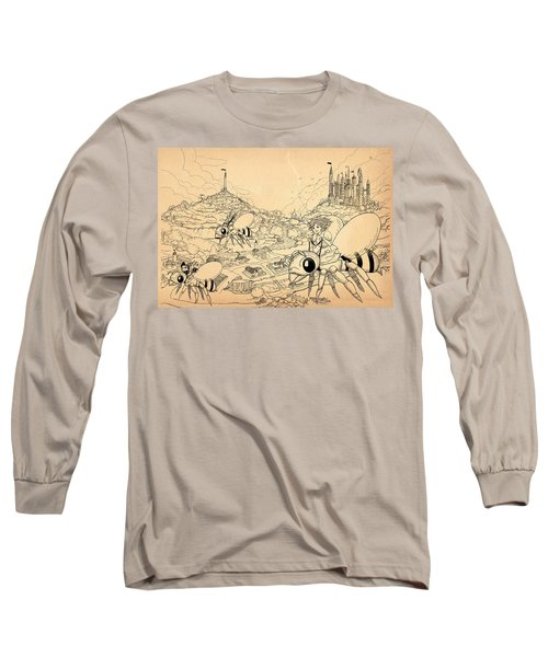 Long Sleeve T-Shirt featuring the drawing Flight Over Capira by Reynold Jay