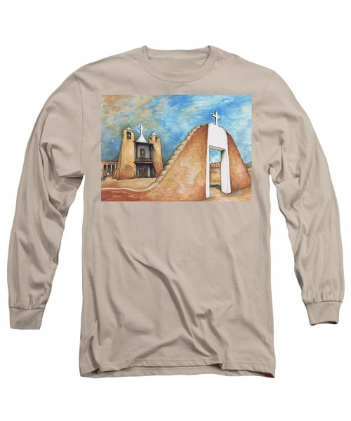 Taos Pueblo New Mexico - Watercolor Art Painting Long Sleeve T-Shirt