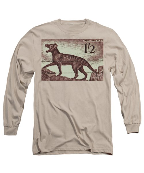 Tasmanian Tiger Vintage Postage Stamp Long Sleeve T-Shirt by Andy Prendy