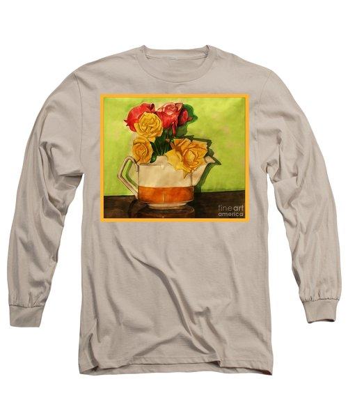 Tea Roses Bordered Long Sleeve T-Shirt