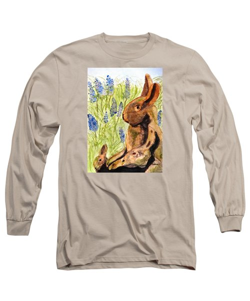 Long Sleeve T-Shirt featuring the painting Terra Cotta Bunny Family by Angela Davies