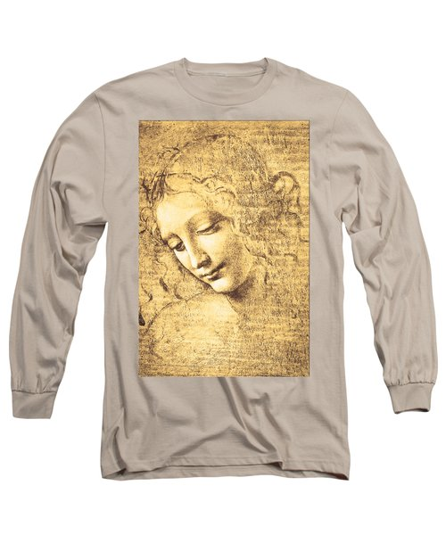 Testa Di Fanciulla Detta La Scapigliata Long Sleeve T-Shirt by Leonardo Da Vinci