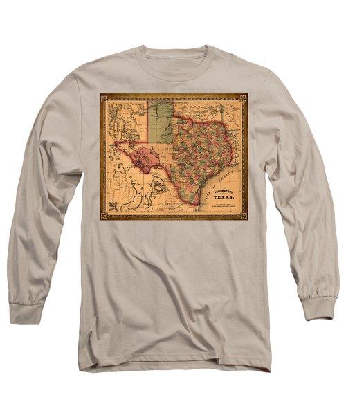 Texas Map Art - Vintage Antique Map Of Texas Long Sleeve T-Shirt