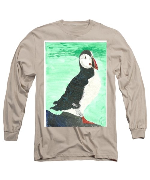 Long Sleeve T-Shirt featuring the painting That's Another Puffin Year Over by Tracey Williams