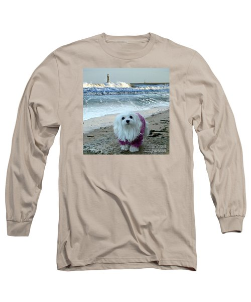 The Beach In Winter Long Sleeve T-Shirt by Morag Bates
