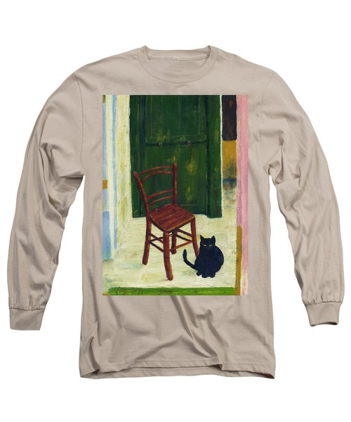 Long Sleeve T-Shirt featuring the painting The  Black Cat by Hartmut Jager
