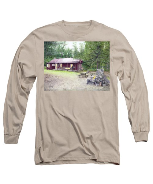 Long Sleeve T-Shirt featuring the painting The Cabin In The Woods by Albert Puskaric