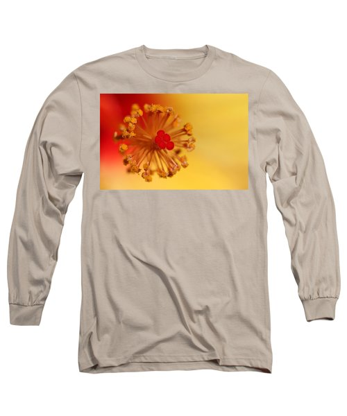 Long Sleeve T-Shirt featuring the photograph The Center Of The Hibiscus Flower by Debbie Oppermann