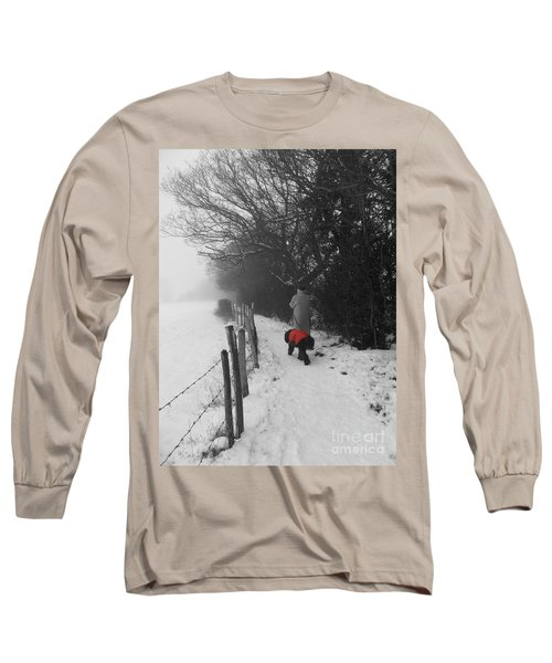 The Dog In The Red Coat Long Sleeve T-Shirt by Vicki Spindler