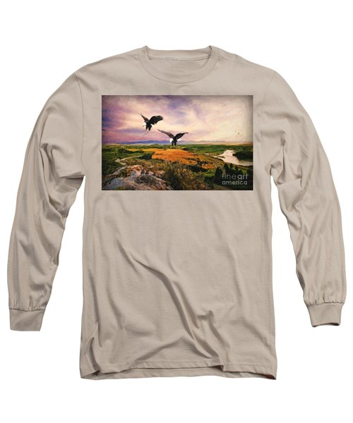 Long Sleeve T-Shirt featuring the digital art The Eagle Will Rise Again by Lianne Schneider