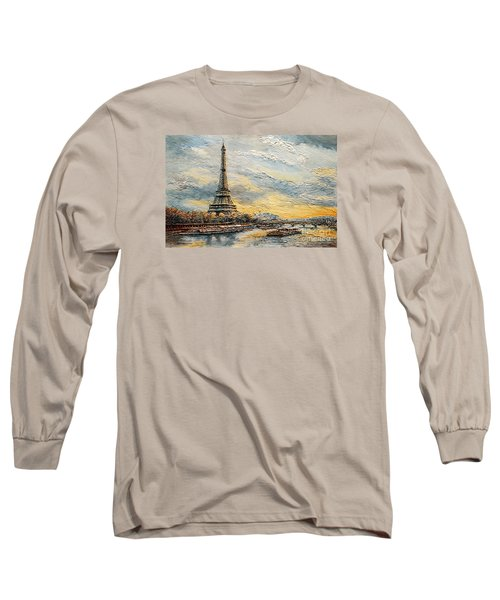 Long Sleeve T-Shirt featuring the painting The Eiffel Tower- From The River Seine by Joey Agbayani