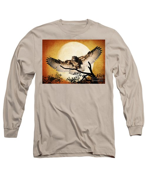 Long Sleeve T-Shirt featuring the photograph The Eurasian Eagle Owl And The Moon by Kathy Baccari
