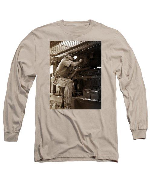Long Sleeve T-Shirt featuring the photograph The Farmer by Rebecca Davis