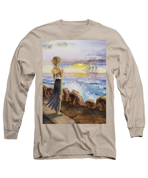 The Girl And The Ocean Long Sleeve T-Shirt